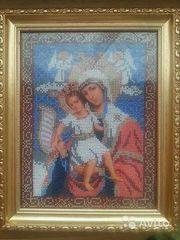 Икона вышитая бисером  Божья матерь Достойно есть